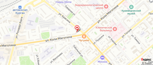 Карта расположения пункта доставки Lamoda/Pick-up в городе Курган