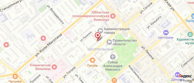 Карта расположения пункта доставки Ростелеком в городе Курган