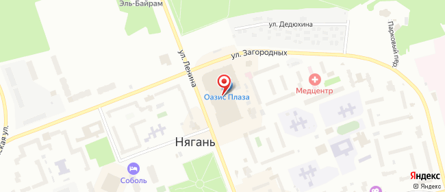 Карта расположения пункта доставки Westfalika в городе Нягань