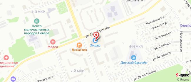 Карта расположения пункта доставки Нягань Петра Великого в городе Нягань