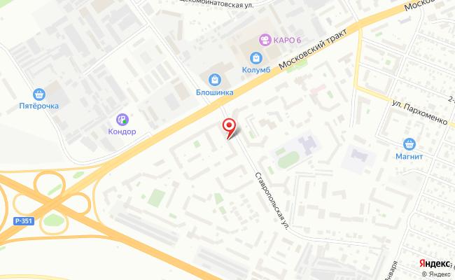Карта расположения пункта доставки Тюмень Московский тракт в городе Тюмень