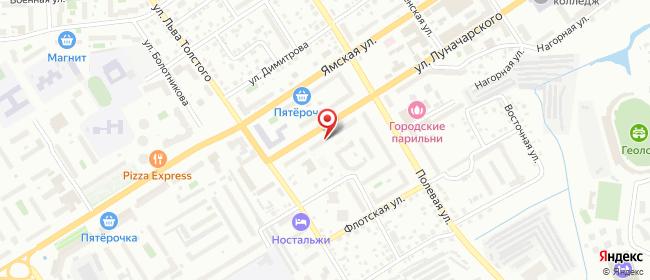 Карта расположения пункта доставки Тюмень Луначарского в городе Тюмень