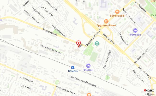 Карта расположения пункта доставки Тюмень Первомайская в городе Тюмень