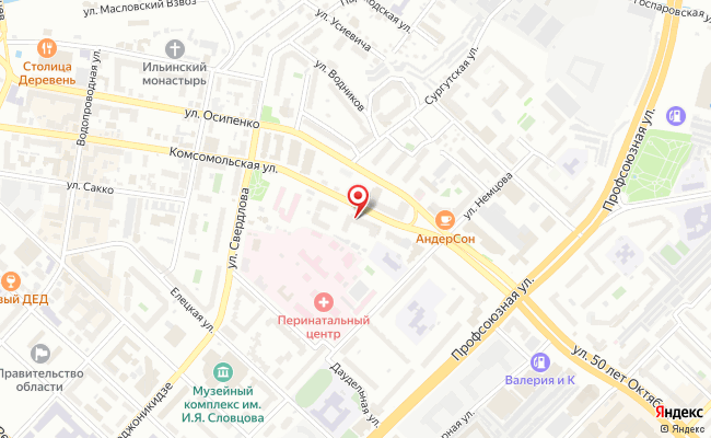 Карта расположения пункта доставки Тюмень Комсомольская в городе Тюмень