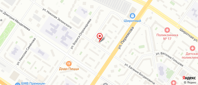Карта расположения пункта доставки Тюмень Пермякова в городе Тюмень