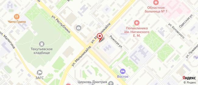 Карта расположения пункта доставки Билайн в городе Тюмень