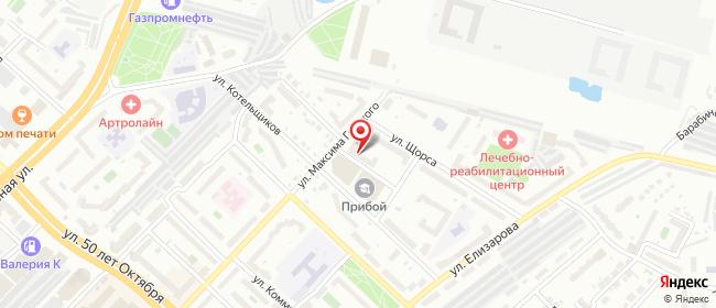 Карта расположения пункта доставки Тюмень Горького в городе Тюмень