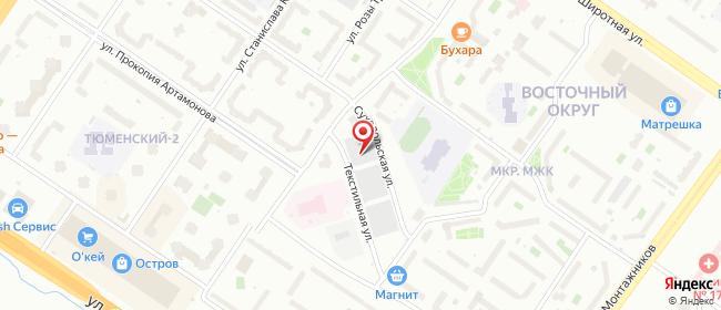 Карта расположения пункта доставки Ростелеком в городе Тюмень