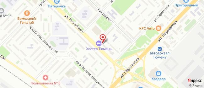 Карта расположения пункта доставки Республики р-н ДК Строитель в городе Тюмень