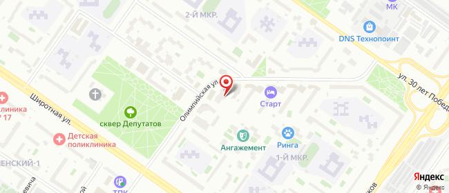 Карта расположения пункта доставки Тюмень Олимпийская в городе Тюмень