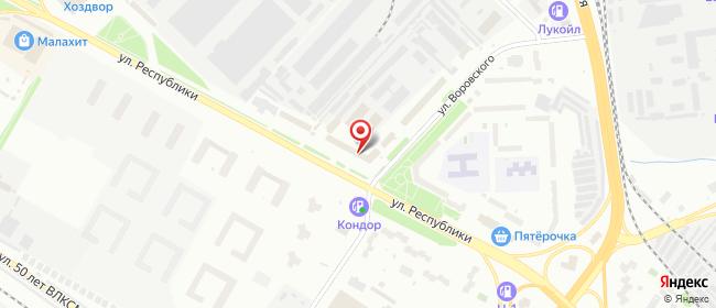 Карта расположения пункта доставки Тюмень Республики в городе Тюмень