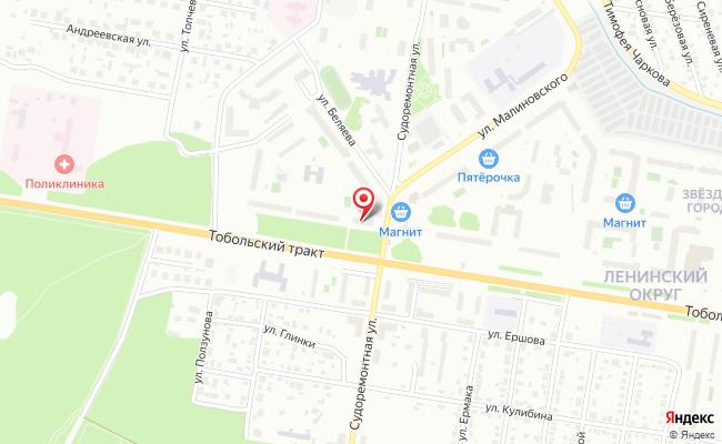 Карта расположения пункта доставки Тюмень Беляева в городе Тюмень
