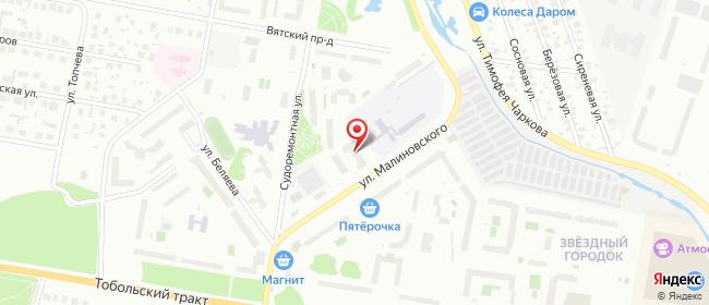Карта расположения пункта доставки На Малиновского в городе Тюмень