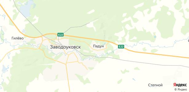 Падун на карте
