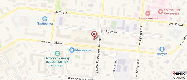 Карта расположения пункта доставки Салехард Республики в городе Салехард