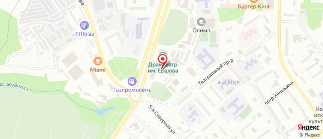 Карта расположения пункта доставки Ростелеком в городе Тобольск