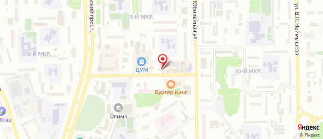 Карта расположения пункта доставки Билайн в городе Тобольск