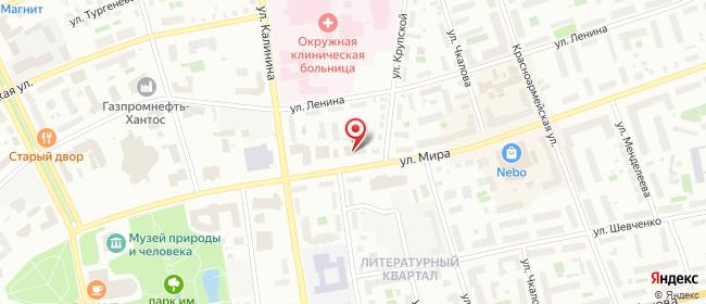 Карта расположения пункта доставки Пункт выдачи в городе Ханты-Мансийск