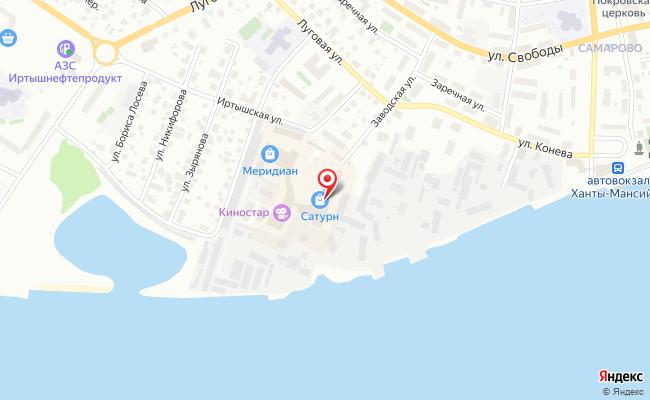 Карта расположения пункта доставки Ханты-Мансийск Заводская в городе Ханты-Мансийск