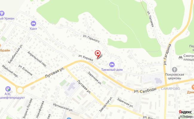 Карта расположения пункта доставки Ханты-Мансийск Кирова в городе Ханты-Мансийск