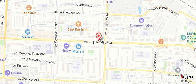 Карта расположения пункта доставки Билайн в городе Ишим