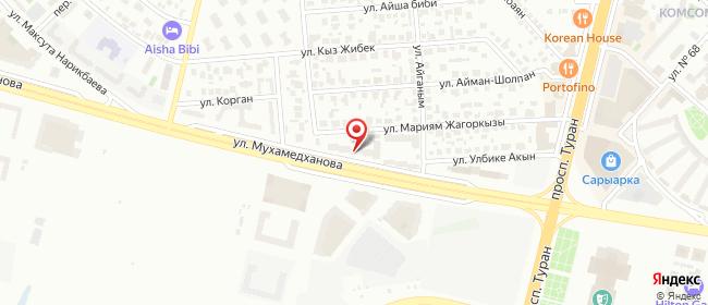 Карта расположения пункта доставки На Хан-Шатыр в городе Нур-Султан