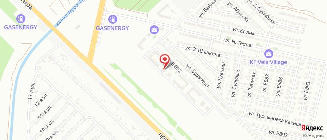 Карта расположения пункта доставки Е 652 в городе Нур-Султан