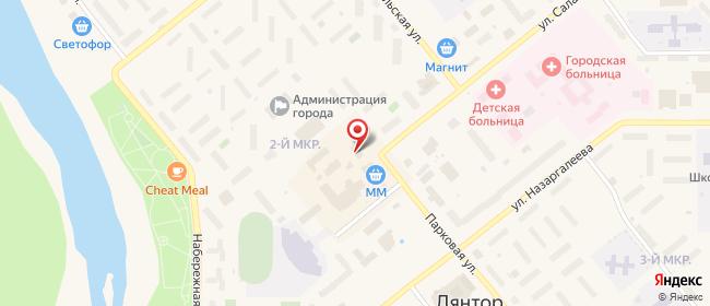 Карта расположения пункта доставки Ростелеком в городе Лянтор