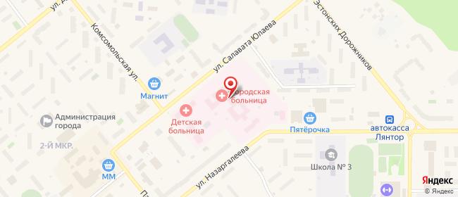 Карта расположения пункта доставки Лянтор Салавата Юлаева в городе Лянтор