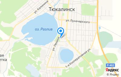Местоположение на карте пункта техосмотра по адресу Омская обл, г Тюкалинск, ул Ленина, д 43