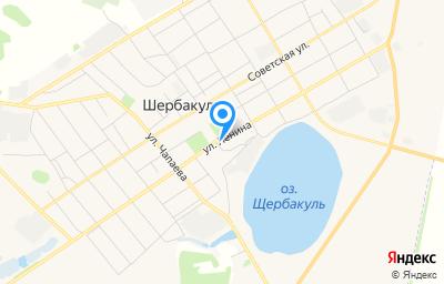 Местоположение на карте пункта техосмотра по адресу Омская обл, рп Шербакуль, ул Ленина, д 117