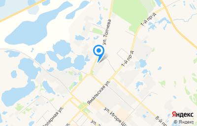 Местоположение на карте пункта техосмотра по адресу Ямало-Ненецкий АО, г Надым, ул Топчева