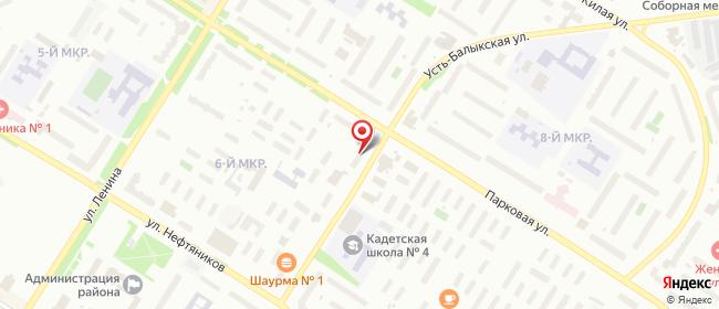 Карта расположения пункта доставки Нефтеюганск 6-й мкрорайон в городе Нефтеюганск