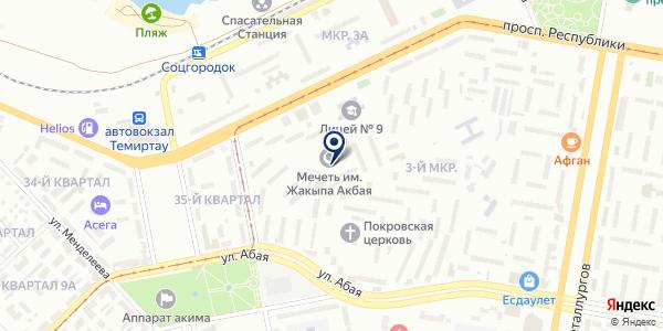 Темиртауская городская мечеть на карте Темиртау