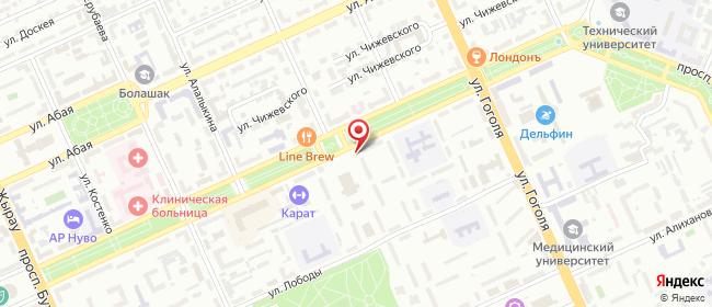 Карта расположения пункта доставки Tastamat в городе Караганда