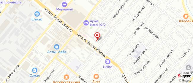 Карта расположения пункта доставки На Бухар Жырау в городе Караганда