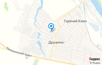 Местоположение на карте пункта техосмотра по адресу Омская обл, Омский р-н, с Дружино, ул Производственная, д 2А