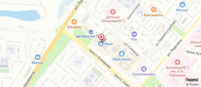 Карта расположения пункта доставки СИТИЛИНК в городе Омск