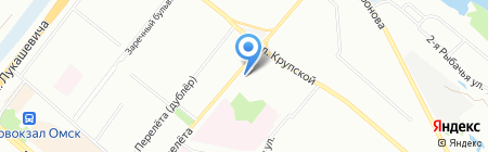 Автостоянка на ул. Перелёта на карте Омска