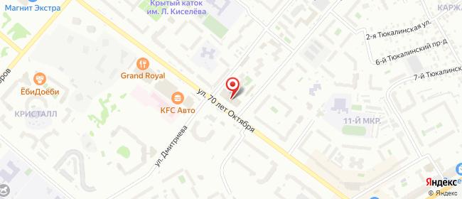 Карта расположения пункта доставки Ростелеком в городе Омск