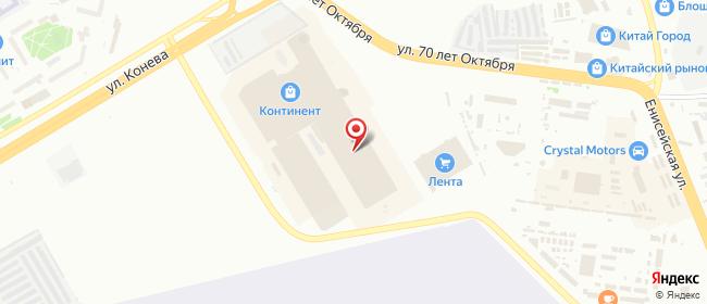 Карта расположения пункта доставки Омск 70 лет Октября в городе Омск