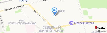 Магазин мясной продукции на карте Сургута