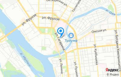 Местоположение на карте пункта техосмотра по адресу г Омск, ул Гагарина, д 10