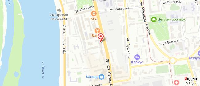 Карта расположения пункта доставки Пункт выдачи в городе Омск