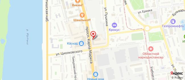 Карта расположения пункта доставки Омск Карла Маркса в городе Омск