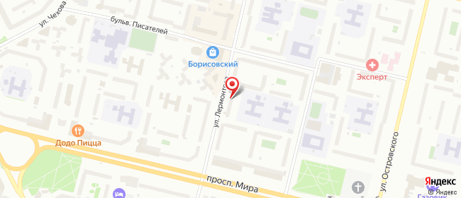Карта расположения пункта доставки Сургут Лермонтова в городе Сургут