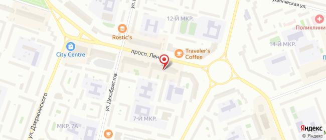 Карта расположения пункта доставки Сургут Ленина в городе Сургут