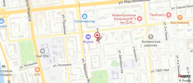 Карта расположения пункта доставки Омск Учебная в городе Омск