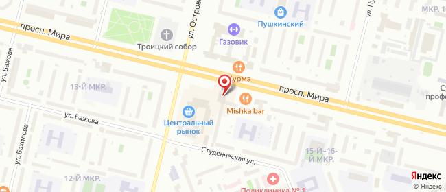 Карта расположения пункта доставки Алмаз Мира в городе Сургут
