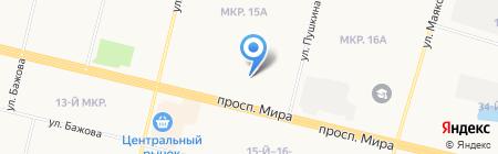 Глобус на карте Сургута